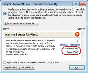 Funkcia Kontrola kompatibility so zvýraznenými verziami