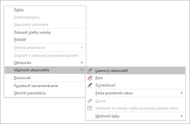 Zobrazuje ponuku možností ukazovateľa v PowerPointe
