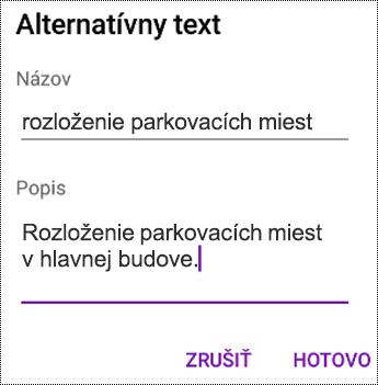 Pridanie alternatívneho textu k obrázkom vo OneNote pre Android