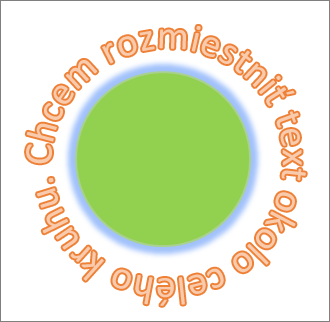 Text ohnutý okolo kruhového tvaru