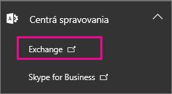Vyberte položku Centrum spravovania pre Exchange.