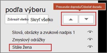 Používateľské rozhranie programu PowerPoint zobrazujúce položky na table výberu a posúvanie dopredu a odoslania dozadu.