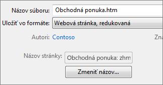 Dialógové okno Uložiť ako s vybratou možnosťou Webová stránka, redukovaná