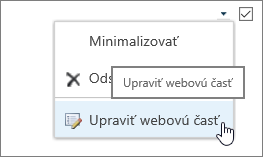 Zvýraznená ponuka úpravy webovej časti