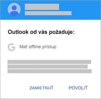 Ťuknutím na položku Povoliť povoľte Outlooku offline prístup.