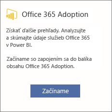 Na karte Office 365 Adoption vyberte položku Začíname