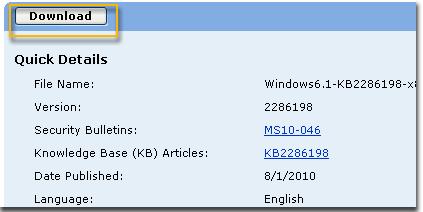 Na stránke sťahovania vyberte položku Download (Stiahnuť) pre KB2286198. Zobrazí sa okno sťahovania súboru. Ak chcete súbor nainštalovať automaticky po stiahnutí, vyberte položku Otvoriť.