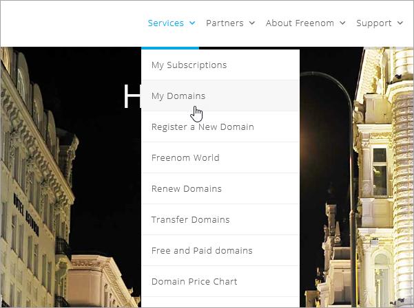 Výber položiek Services (Služby) a My Domains (Moje domény) na lokalite Freenom_C3_2017530131524
