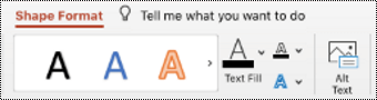 Tlačidlo alternatívny text na páse s nástrojmi pre tvar v PowerPointe pre Mac.