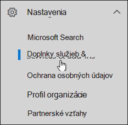 Na navigačnej table kliknite na ikonu Nastavenia apotom kliknite na položku Služby adoplnky.