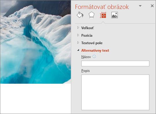 Pôvodný obrázok ľadovcového jazera sdialógovým oknom Formátovanie obrázka bez alternatívneho textu vokne Popis.