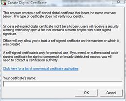 Dialógové okno Vytvorenie digitálneho certifikátu