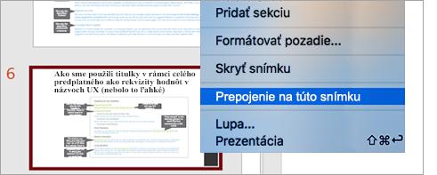 Zobrazuje prepojenie na snímku v prezentácii