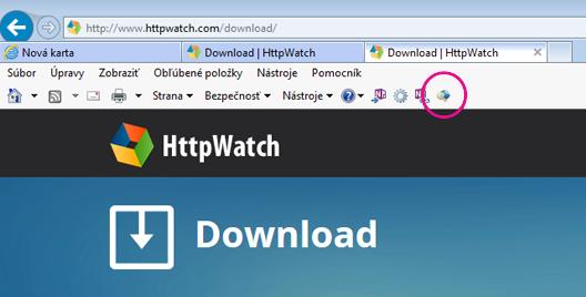 Panel s nástrojmi príkazov Internet Exploreru so zobrazenou ikonou HTTPWatch.