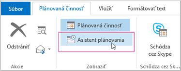 Tlačidlo Asistent plánovania