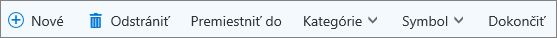 Panel príkazov pre úlohy vslužbe Outlook.com