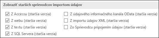 Obrázok možností získať a transformovať staršia verzia sprievodcu zo súboru > Možnosti > údajov.