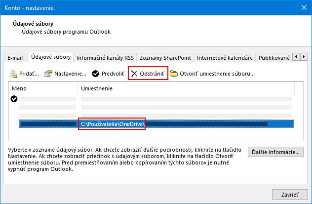 Dialógové okno údajové súbory programu Outlook