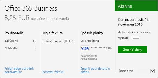 Snímka obrazovky spredplatným na stránke Predplatné vCentre spravovania služieb Office 365, ktorá zobrazuje typ vášho predplatného ajeho stav.