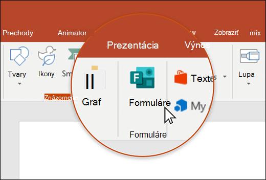 Ikona formulára v PowerPointe