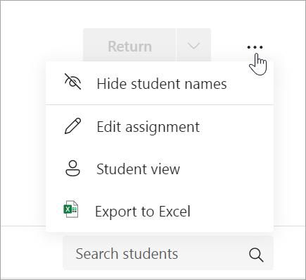 Rozbaľovací zoznam Ďalšie možnosti s možnosťami Skryť mená študentov, Upraviť priradenú úlohu, Zobrazenie študenta a Odstrániť priradenú úlohu.