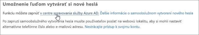 Výberom prepojenia prejdete do centra spravovania služby Azure.