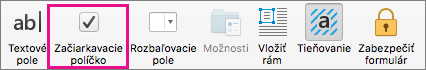Kliknutím na položku Začiarkavacie políčko vložíte začiarkavacie políčko, ktoré sa dá označiť vo Worde.