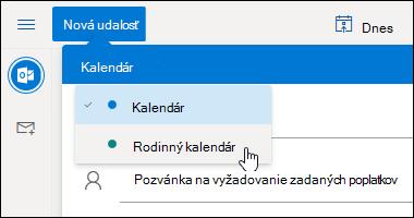 Snímka obrazovky s rozbaľovacou ponukou výberu kalendára