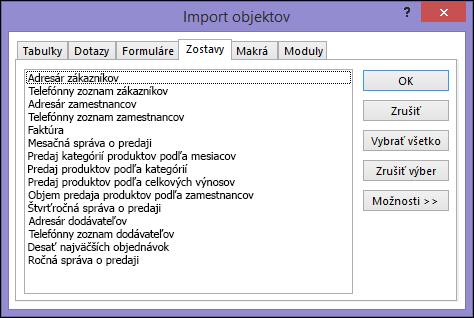 Dialógové okno Import objektov v accessovej databáze