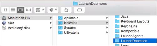 Prejdite do priečinka Library (Knižnica) a potom do priečinka LaunchDaemons