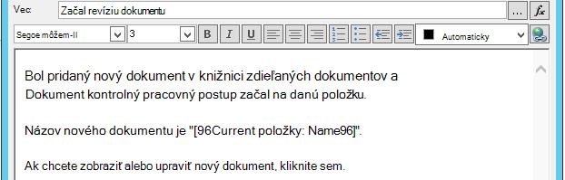 Vloženie hypertextového prepojenia pre aktuálnu položku 3