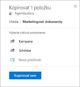 Snímka obrazovky svýberom umiestnenia pri kopírovaní súboru na lokalitu SharePoint