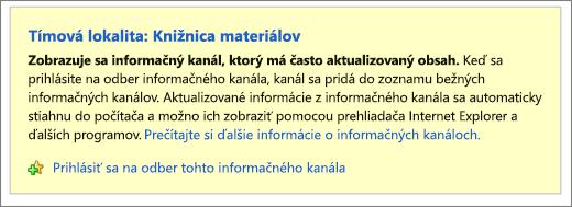 Stránka informačného kanála na prihlásenie na odber informačného kanála RSS