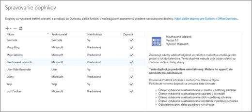 Snímka obrazovky soknom Spravovať doplnky, kde môžete pridať alebo odstrániť doplnky, zobraziť informácie odoplnku aprejsť do Office Obchodu, kde nájdete ďalšie doplnky pre Outlook. Vybratá je položka Navrhované schôdze aspolu sňou sa zobrazujú aj informácie odaných schôdzach.