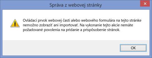Chybové hlásenie zobrazované po zakázaní skriptovania na lokalite alebo kolekcii lokalít