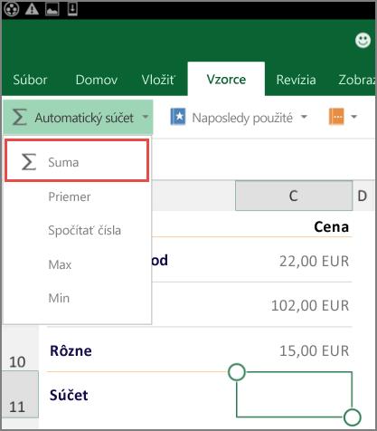 Ponuka na prístup na páse s nástrojmi Excelu pre Android