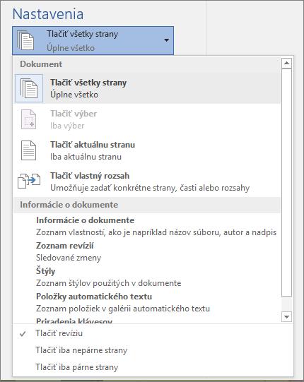 Snímka obrazovky tably srozbalenou ponukou Tlačiť všetky strany zobrazujúcou ďalšie možnosti.