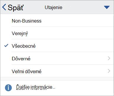 Snímka obrazovky s menovkami citlivosti v Office pre iOS
