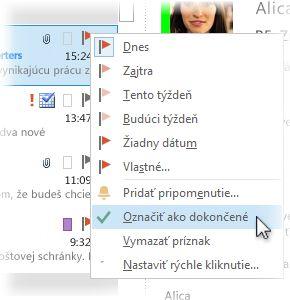 Príkaz Označiť ako dokončené v ponuke zobrazenej po kliknutí pravým tlačidlom myši v zozname správ