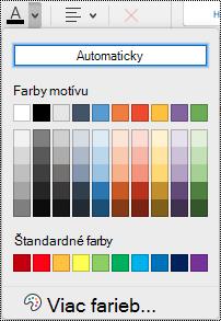 Rozbaľovacia ponuka s farbou písma vo OneNote pre Mac.