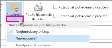 Nastavenia povolení na karte Možnosti