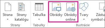 Snímka obrazovky s možnosťami vloženia obrázkov na karte Vložiť v Publisheri