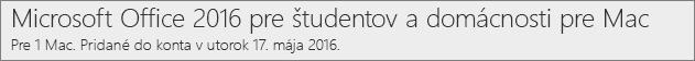 Spôsob zobrazovania verzie balíka Office 2016 pre Mac na lokalite Office.com/myaccount