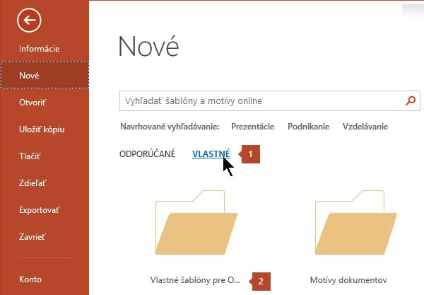 V časti súbor > nové a kliknite na položku Vlastná a potom vlastné šablóny balíka Office.