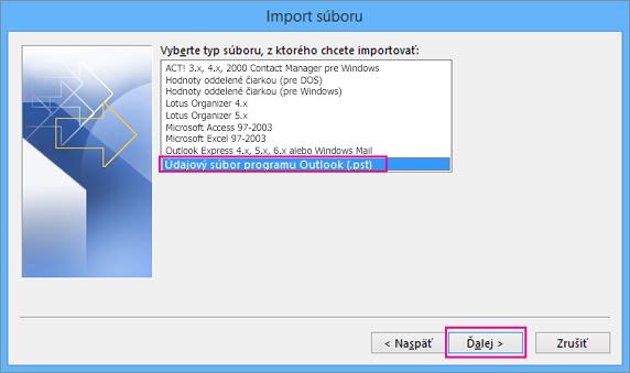 Vyberte import súboru .pst