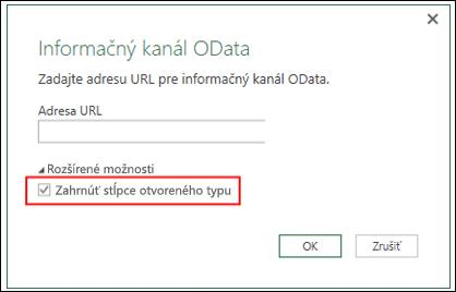 Power Query –  vylepšenie konektora OData s možnosťou importu stĺpcov otvoreného typu z informačných kanálov OData