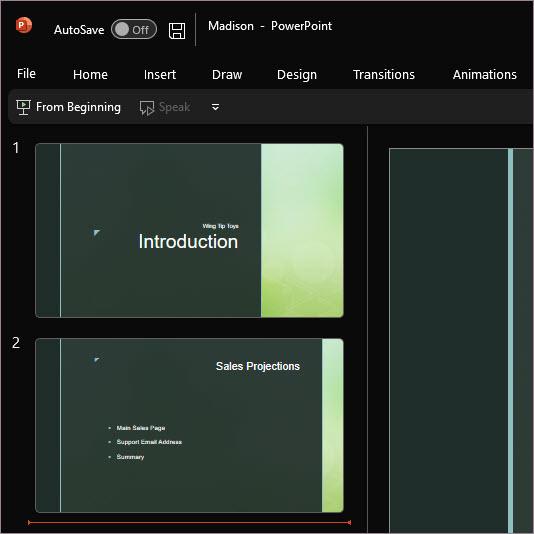 PowerPoint použitím čierneho motívu