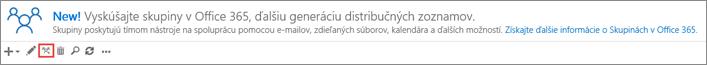 Kliknutie alebo ťuknutie na ikonu Inovovať na skupiny v službách Office 365