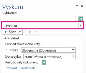 Možnosť Preklad na table Zdroje informácií