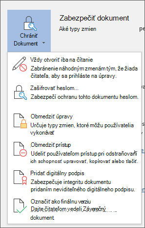 V ponuke zabezpečiť dokument vo Worde pre služby Office 365